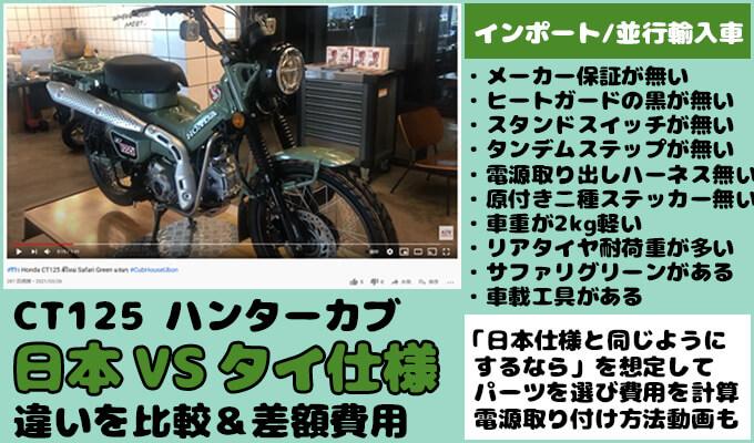 CT125ハンターカブ、日本とタイ仕様の違いと電源取り付け方法